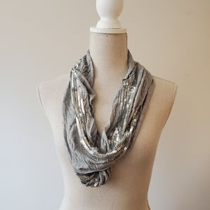 Steve Madden gray silver sequins scarf